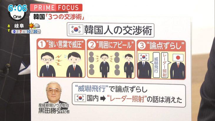 フジ「韓国人の交渉術…強い言葉で威圧、周囲にアピール、論点ずらし」 ネット上では差別だと批判も